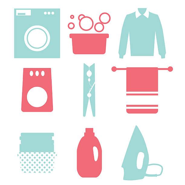 Laundry and Washing Icons. Vector illustration.  Flat design Laundry and Washing Icons. Vector illustration.  Flat design. laundry basket stock illustrations