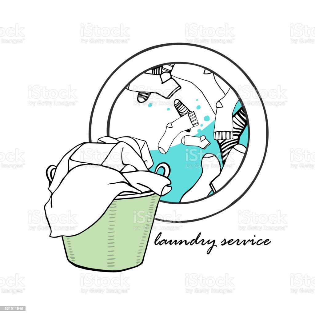 w schekorb und waschmaschine mit wasser und socken symbole der w sche hand gezeichnet vektor. Black Bedroom Furniture Sets. Home Design Ideas