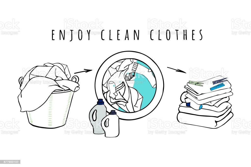 panier linge et machine laver avec leau et des v tements pli de draps de serviettes et dun. Black Bedroom Furniture Sets. Home Design Ideas