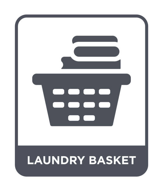 laundry basket icon vector on white background, laundry basket trendy filled icons from Hygiene collection laundry basket icon vector on white background, laundry basket trendy filled icons from Hygiene collection laundry basket stock illustrations