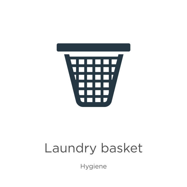 Laundry basket icon vector. Trendy flat laundry basket icon from hygiene collection isolated on white background. Vector illustration can be used for web and mobile graphic design, logo, eps10 Laundry basket icon vector. Trendy flat laundry basket icon from hygiene collection isolated on white background. Vector illustration can be used for web and mobile graphic design, logo, eps10 laundry basket stock illustrations