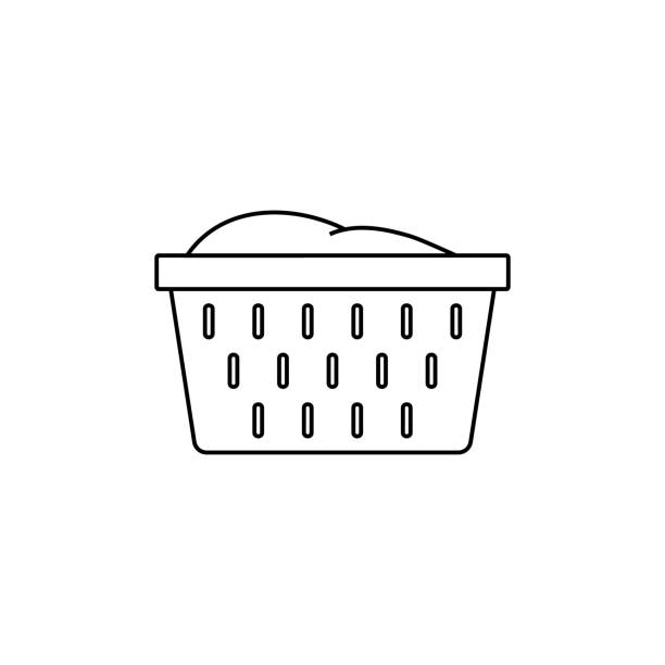 Laundry basket outline icon. linear style sign for mobile concept and web design. Basket with towels simple line vector icon. Symbol, logo illustration. Laundry basket outline icon. linear style sign for mobile concept and web design. Basket with towels simple line vector icon. Symbol, logo illustration. laundry basket stock illustrations