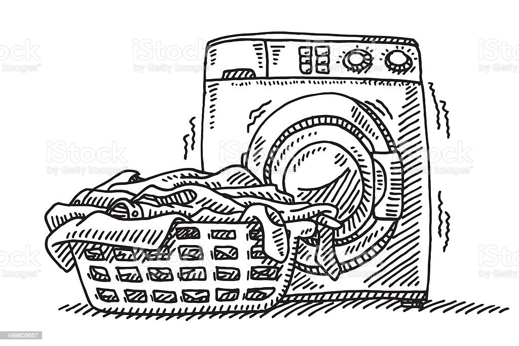 Washing Machine Drawing ~ Laundry basket washing machine drawing stock vector art