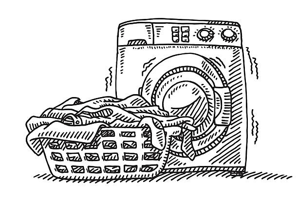 Laundry Basket Washing Machine Drawing Hand-drawn vector drawing of a Laundry Basket in front of a Washing Machine. Black-and-White sketch on a transparent background (.eps-file). Included files are EPS (v10) and Hi-Res JPG. laundry basket stock illustrations