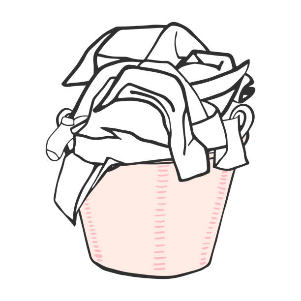 Laundry basket with clothes. Vector illustration. Laundry basket with clothes. Vector illustration. laundry basket stock illustrations