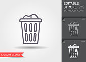 Laundry basket with dirty clothes outline icon. Line icon with editable stroke with shadow
