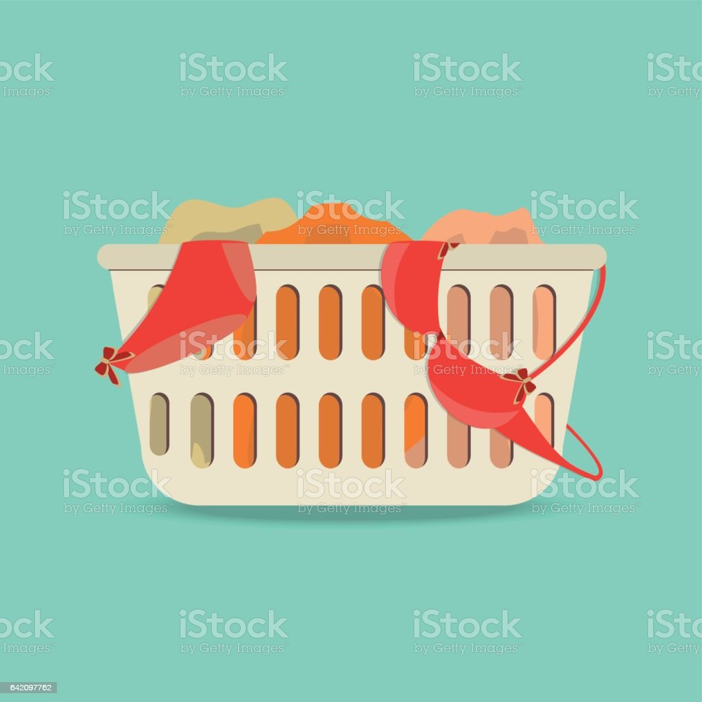 Laundry basket with underwear and dirty clothes. vector art illustration