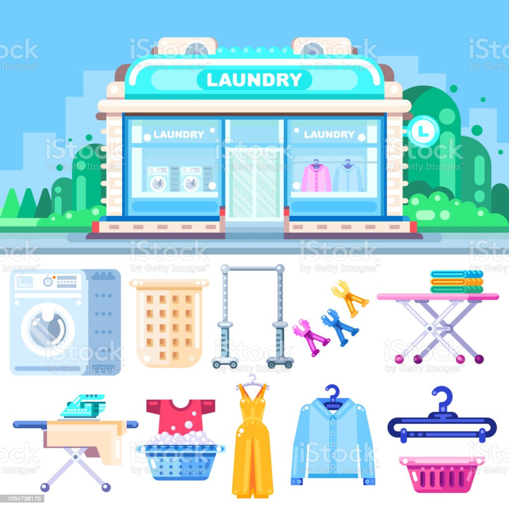 Laundry Building Vector Flat Illustration Laundry Dry Cleaning
