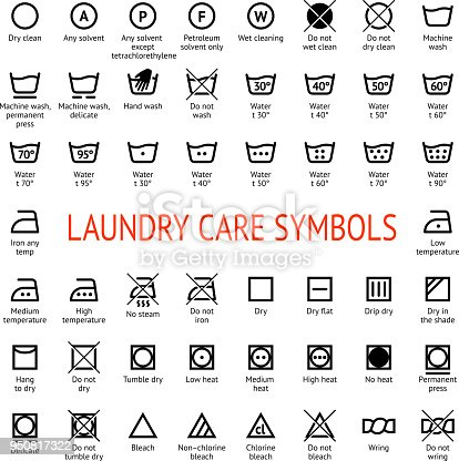 Laundry Care Symbols Cleaning Icons Set Washing Instruction