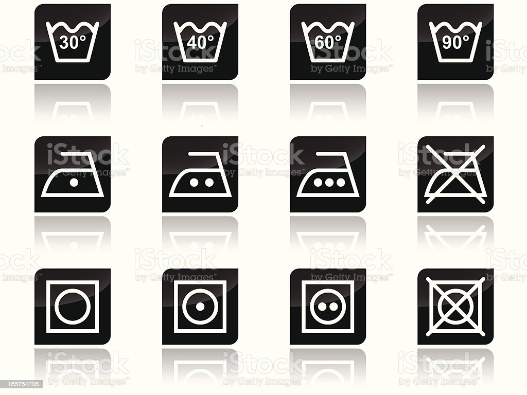Laundry care symbols vector art illustration