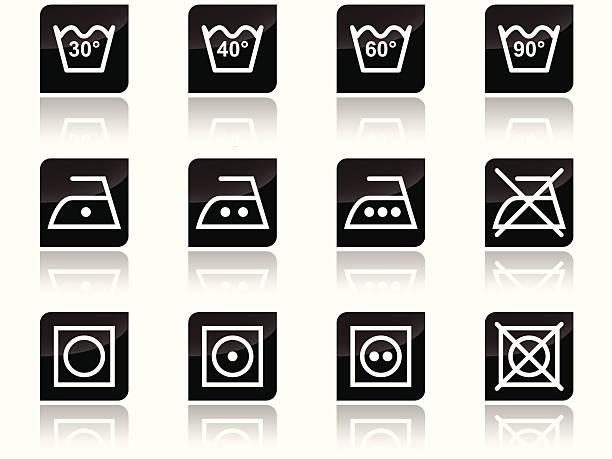 Laundry care symbols vector art illustration