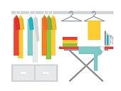 Laundry room with washing machine, ironing board and basket on shelves. Flat style vector illustration.