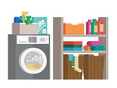 Laundry room with washing machine, detergents and basket on shelves. Flat style vector illustration.