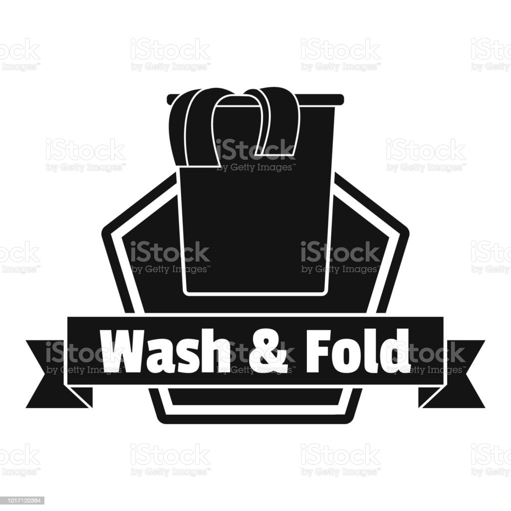Laundry clothes wash logo, simple style vector art illustration