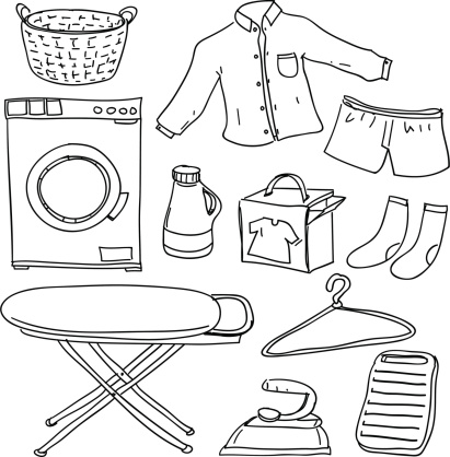 Laundry collection in black and white