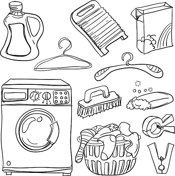 Laundry collection in black and white Sketch drawing of laundry collection in black and white, sketch style. laundry basket stock illustrations