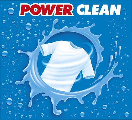 Laundry detergent ad poster. Stain remover package design for advertising with soap bubbles and closeup fiber structure. Washing detergent banner with clean shirt