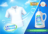 Laundry detergent in realistic plastic bottle ad poster on blue background with white t-shirt vector illustration