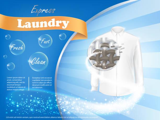 laundry detergent advertising poster - bleach stock illustrations