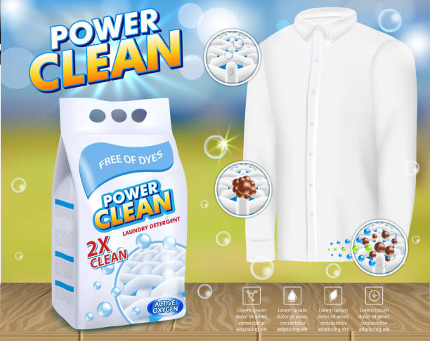 wäsche waschmittel werbung vektor vorlage - weichspüler stock-grafiken, -clipart, -cartoons und -symbole