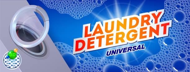 waschmittel für universelle waschen. vorlage für waschmittel. verpackungsdesign für waschen pulver & flüssig waschmittel anzeigen. vektor-illustration - weichspüler stock-grafiken, -clipart, -cartoons und -symbole