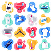 Laundry detergent and household cleaners liquid flat flow style concept symbols. Flat design vector icons set for infographics, mobile and web designs.