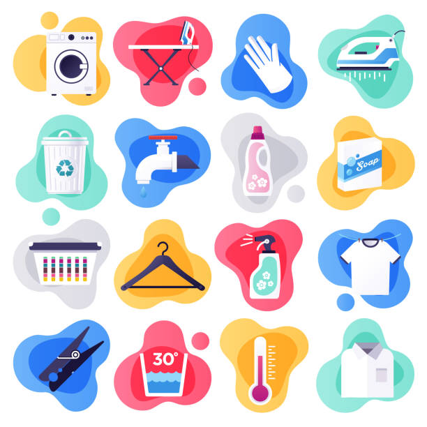 Laundry Detergent & Household Cleaners Flat Flow Style Vector Icon Set Laundry detergent and household cleaners liquid flat flow style concept symbols. Flat design vector icons set for infographics, mobile and web designs. chores stock illustrations