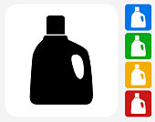 Laundry Detergent Icon. This 100% royalty free vector illustration features the main icon pictured in black inside a white square. The alternative color options in blue, green, yellow and red are on the right of the icon and are arranged in a vertical column.