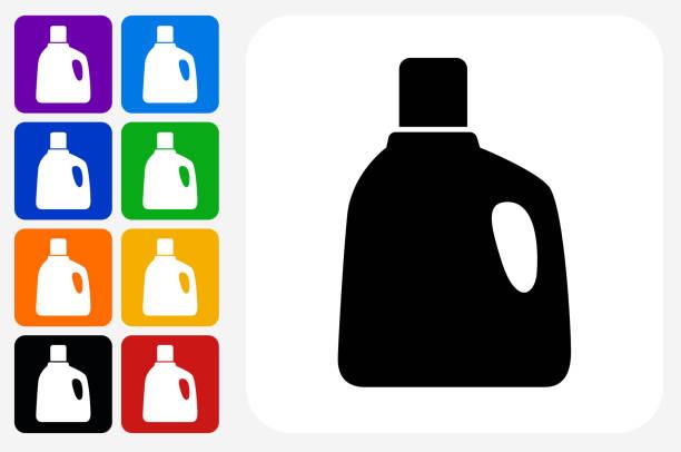 wäsche waschmittel symbol square buttonset - weichspüler stock-grafiken, -clipart, -cartoons und -symbole
