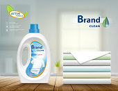 Laundry detergent in plastic container and washed cloth. Mock up package with label design. Stock vector illustration.