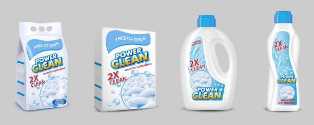 laundry detergent pack mockup set, vector realistic illustration - disinfectant stock illustrations