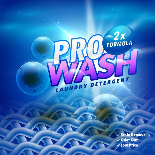 wäsche waschmittel produkt verpackungsdesign mit tuch faser fleck zu entfernen - weichspüler stock-grafiken, -clipart, -cartoons und -symbole