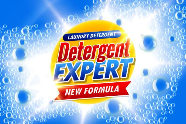 waschmittel vorlage anzeigen banner mit seifenblasen - weichspüler stock-grafiken, -clipart, -cartoons und -symbole