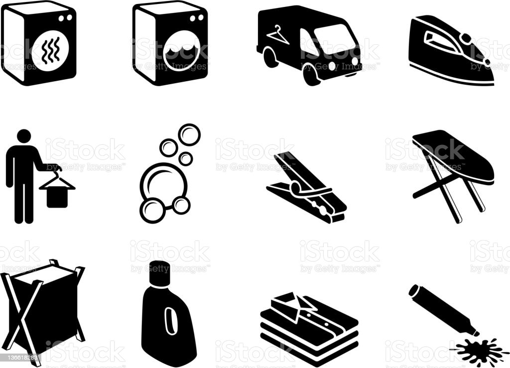 Laundry & dry cleaning black and white vector icon set vector art illustration