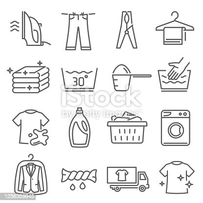 Laundry, dry cleaning thin line icons set isolated on white. Iron, bleach, washing machine outline pictograms collection. Hanger, plastic tub, wringing, linen vector elements for infographic, web.