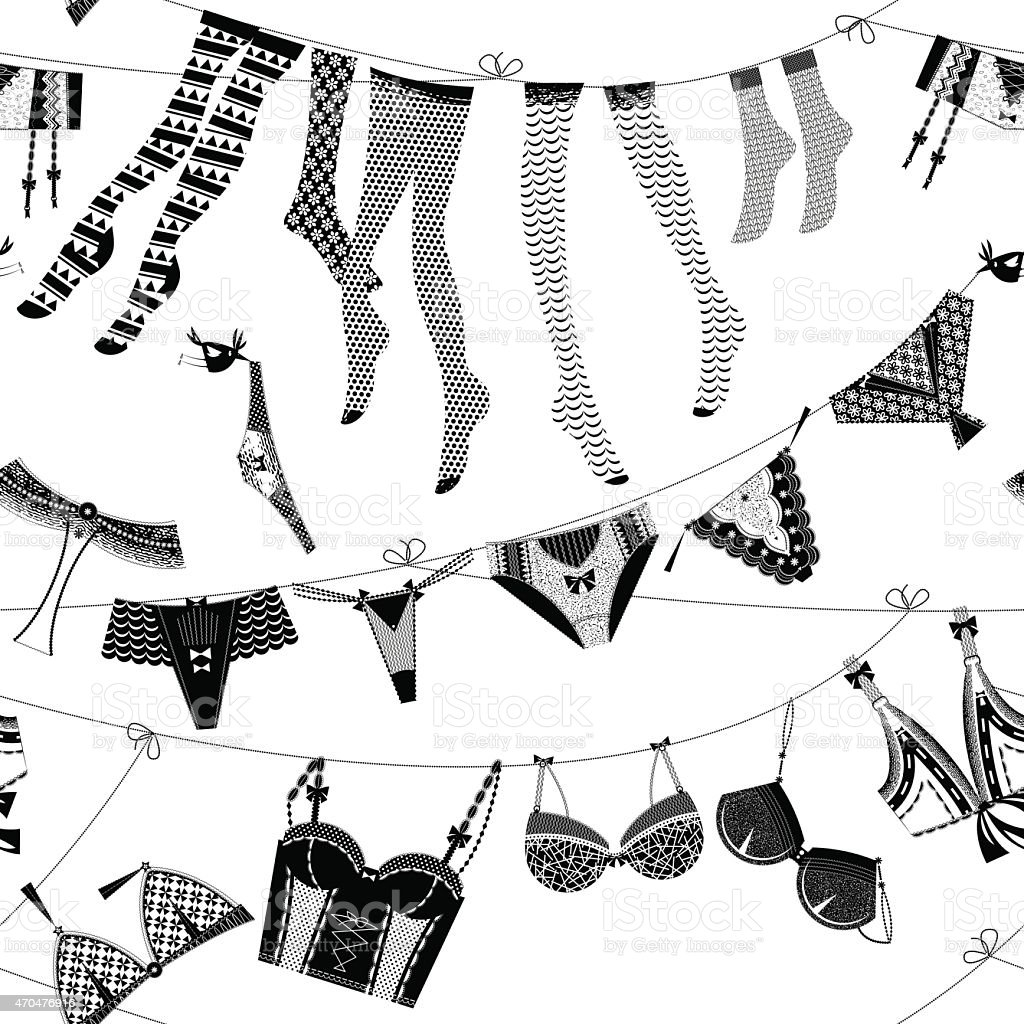 Laundry drying on a washing lines. Seamless background pattern. vector art illustration