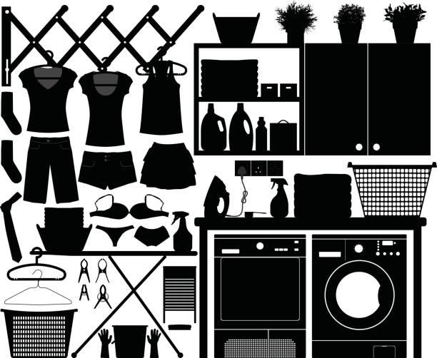 wäscherei-ausrüstung und werkzeuge in silhouette vektor - schrankkorb stock-grafiken, -clipart, -cartoons und -symbole