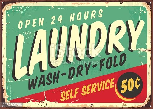 Laundry fifties comic style retro sign banner. Washing clothes promotional poster design on old rusty metal plate. Vector laundry illustration.