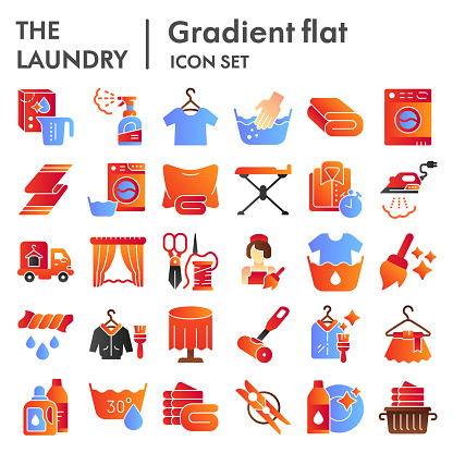 Laundry flat icon set, washing clothes symbols collection, vector sketches, logo illustrations, housework signs color gradient pictograms package isolated on white background, eps 10.