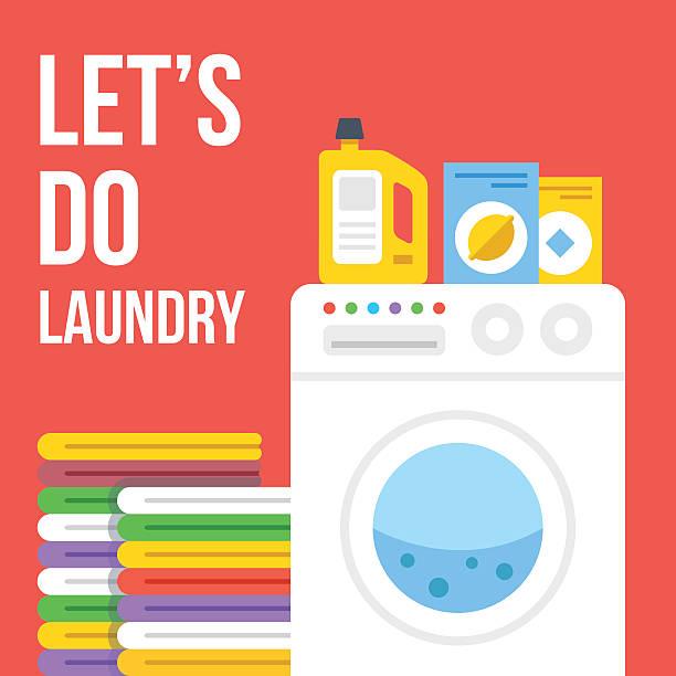 wäscherei flache abbildung. waschmaschine, kleidung, waschmittel symbole satz - waschmaschine stock-grafiken, -clipart, -cartoons und -symbole