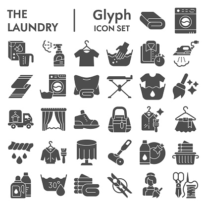 Laundry glyph icon set, washing clothes symbols collection, vector sketches, logo illustrations, housework signs solid pictograms package isolated on white background, eps 10.