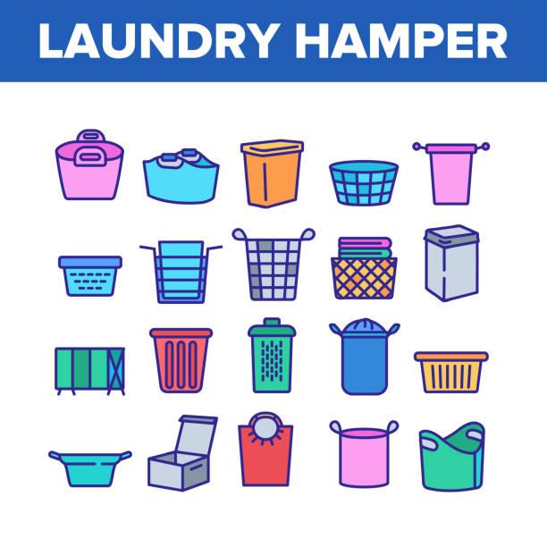 ilustraciones, imágenes clip art, dibujos animados e iconos de stock de laundry hamper basket collection iconos set vector - social media