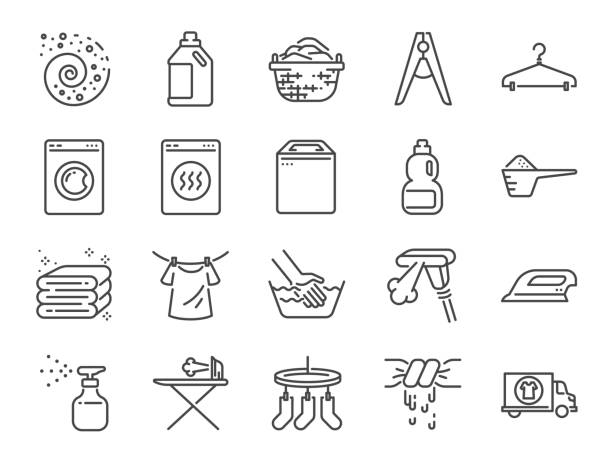 Laundry icon set. Included the icons as detergent, washing machine, fresh, clean, iron and more. Laundry icon set. Included the icons as detergent, washing machine, fresh, clean, iron and more. machinery stock illustrations