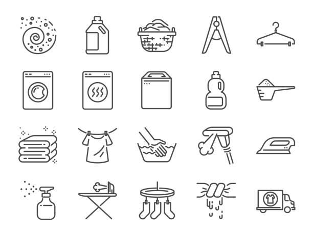 洗衣圖示設置。包括洗滌劑, 洗衣機, 新鮮, 乾淨, 鐵和更多的圖示。 - 衣服 幅插畫檔、美工圖案、卡通及圖標