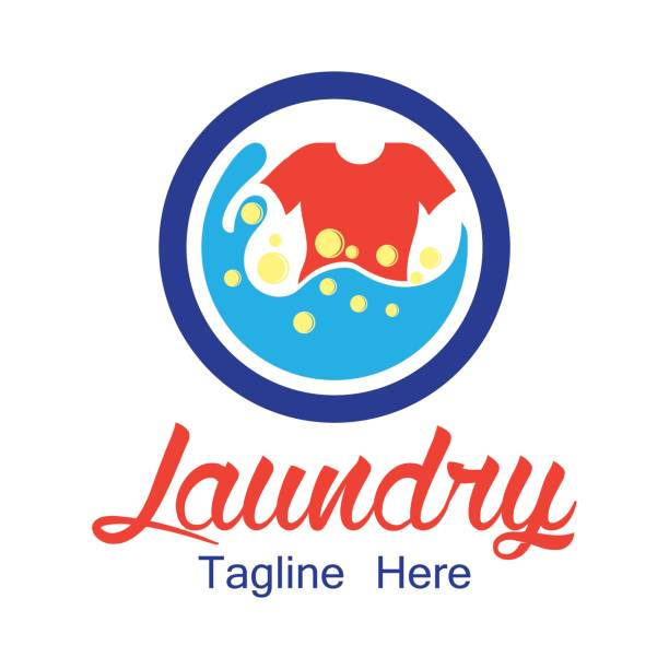 laundry icon with text space for your slogan / tagline, vector illustration - washing machine stock illustrations, clip art, cartoons, & icons