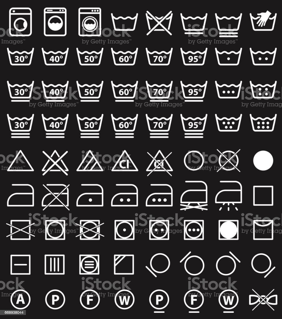 Laundry Icons And Washing Symbols Stock Vector Art More Images Of