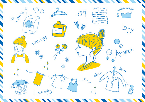 laundry icons and woman's profile