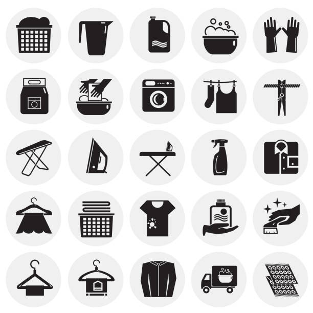 laundry icons set on circles background for graphic and web design, modern simple vector sign. internet concept. trendy symbol for website design web button or mobile app. - bleach stock illustrations