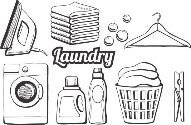 wäscherei-icons set - weichspüler stock-grafiken, -clipart, -cartoons und -symbole