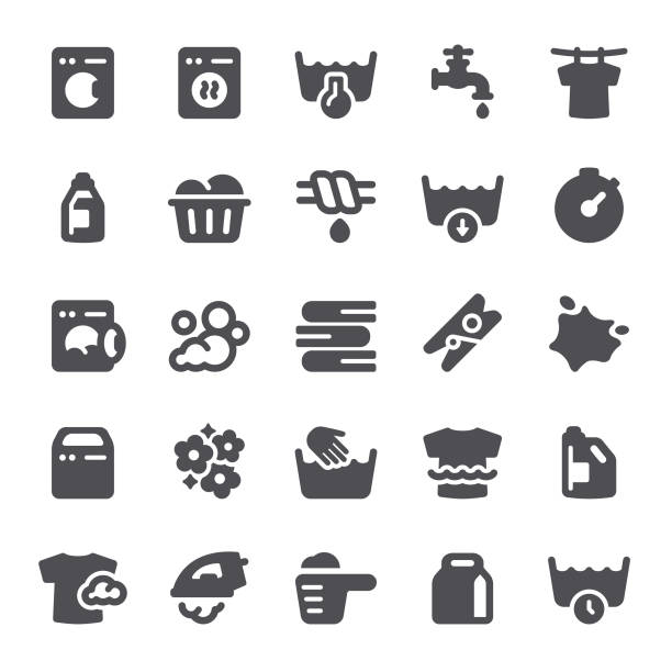 laundry icons - bleach stock illustrations